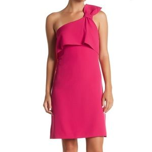 NEW Adrianna Papell One Shoulder Pink Work Dress